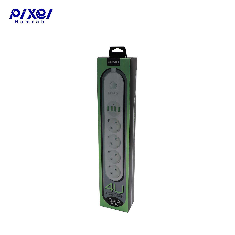 رابط برق 4خانه و شارژر LDNIO SE4432 USB