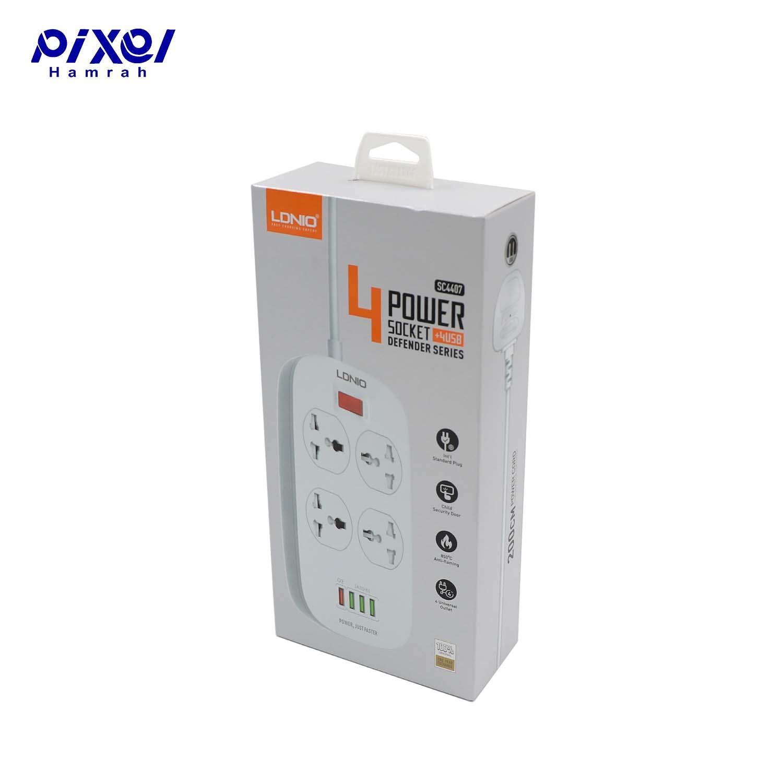 رابط برق 4خانه و شارژر LDNIO SC4407 EUQ USB
