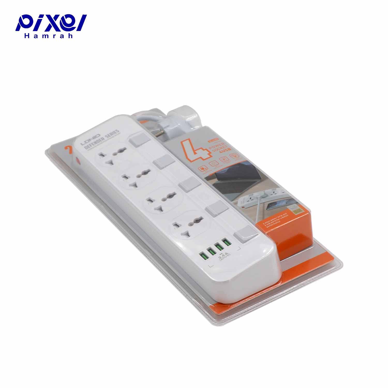 رابط برق 4خانه و شارژر LDNIO SC4408 EUQ USB